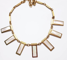 Vintage Mother of Pearl Necklace Statement Choker Big Retro Modern Gold 60s - $25.25