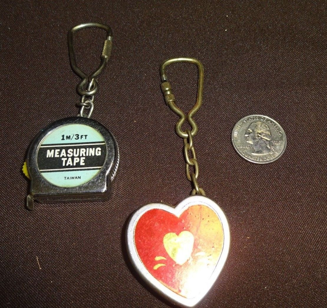Primary image for Vintage Miniature Small Metal Tape Measure Keychain 1m /3 feet Heart & Standard