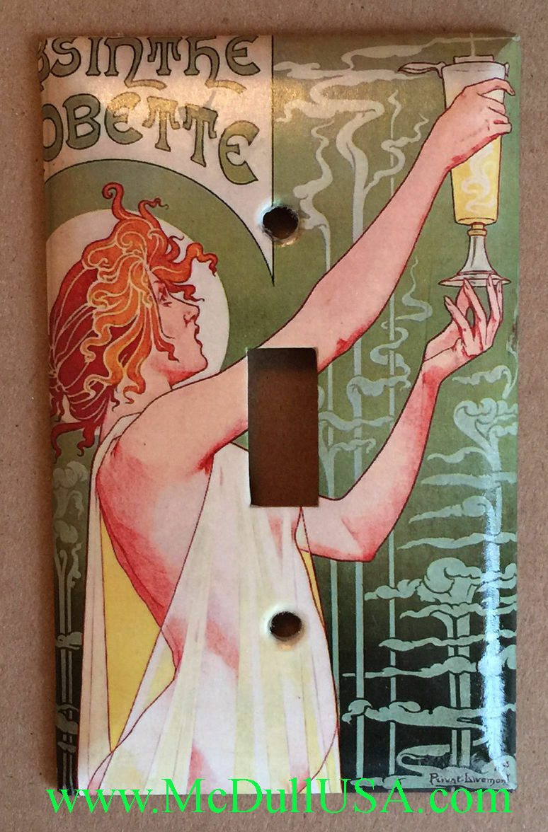 Art Nouveau Absinthe Light Switch Duplex Outlet wall Cover Plate Home Decor