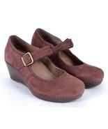Dansko Ox Blood Nubuck Leather Mary Jane Clogs Wedge Heel Shoes 40 US 9.... - $44.54