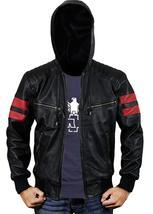 Mens Biker Red Stripes Retro Morotrcyle Hoodie Bomber Black Leather Jacket image 2