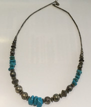 """Vintage Sterling Silver Turquoise Rock Shaped Bead Necklace - 17"""" Length - $250.00"""