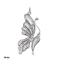 Handmade Tribal Oxidized Silver Butterfly Pendant Fashion Jewelry - $28.72