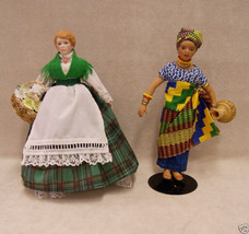2 VINTAGE TRADITIONAL WOMEN FIGURINES AFRICAN & ENGLISH - $12.86