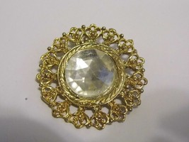 VTG Gold Tone Glass Gem Brooch Pin Costume Fashion Jewelry - $9.66
