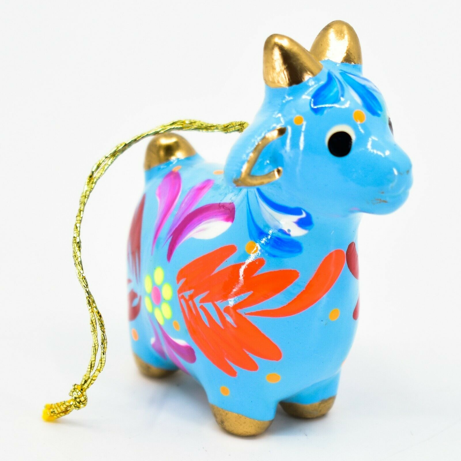 Handcrafted Painted Ceramic Blue Goat Country Farm Confetti Ornament Made Peru