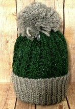 GAP Boys S/M Gray & Forest Green Cable Knit Hat Ribbed Border PomPom Top - $11.75
