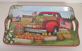 """Americana Farm Truck Design Melamine Serving Tray with US Flags 17"""" x 12"""" - $21.73"""
