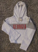 Authentic Champion NCAA Georgia Half/Crop Hoodie Sweatshirt Lt Gray Sz.M... - $24.74