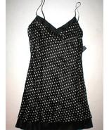 NWT $275 New Designer Josie Natori Chemise Silk Black Polka Dots Womens ... - $178.75
