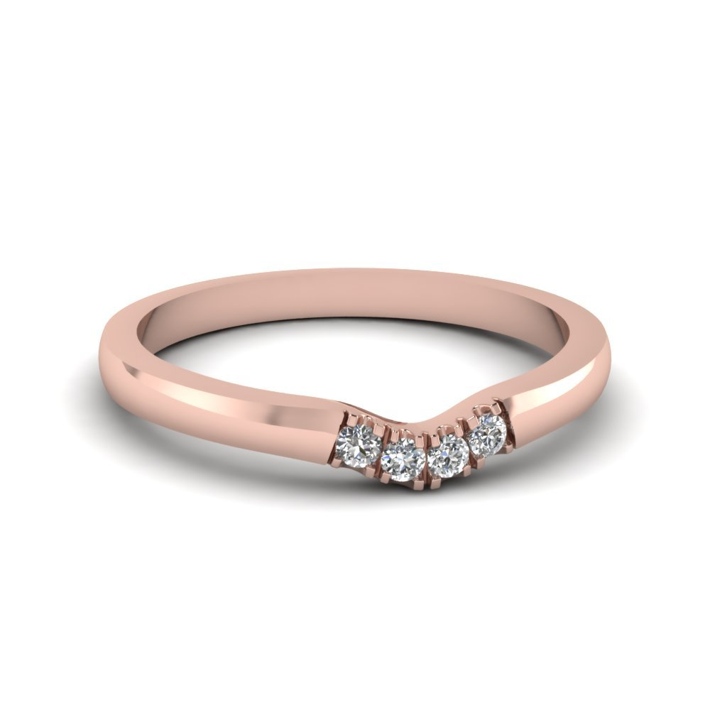 Primary image for Classic White CZ Diamond 14K Rose Gold FN Curved Wedding Band Ring