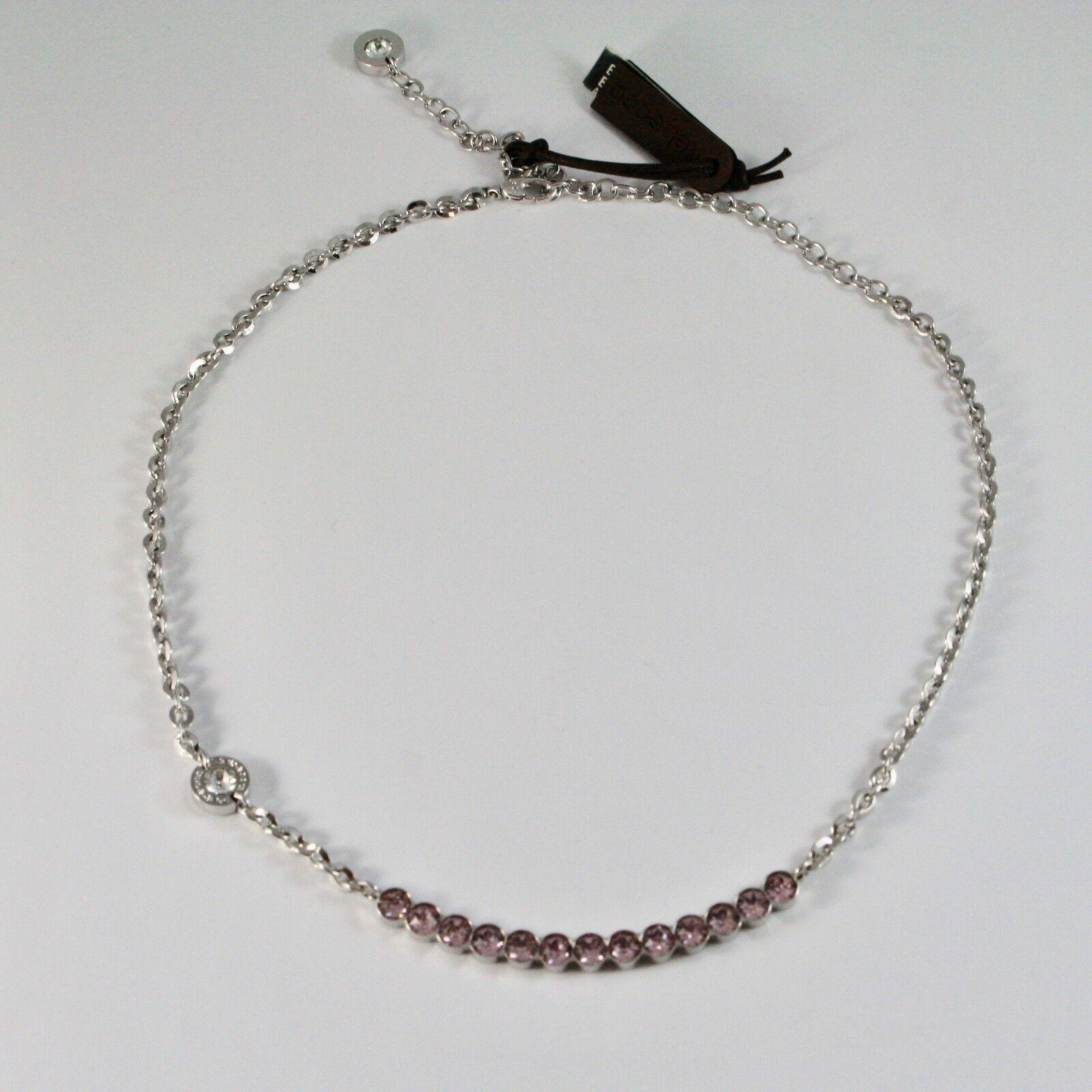 Necklace Rebecca Bronze with Crystals Pink Brilliant Cut BPBKBA14