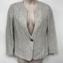 St. John Black Label Creme/Taupe Knit Blazer Jacket 14 - $266.13