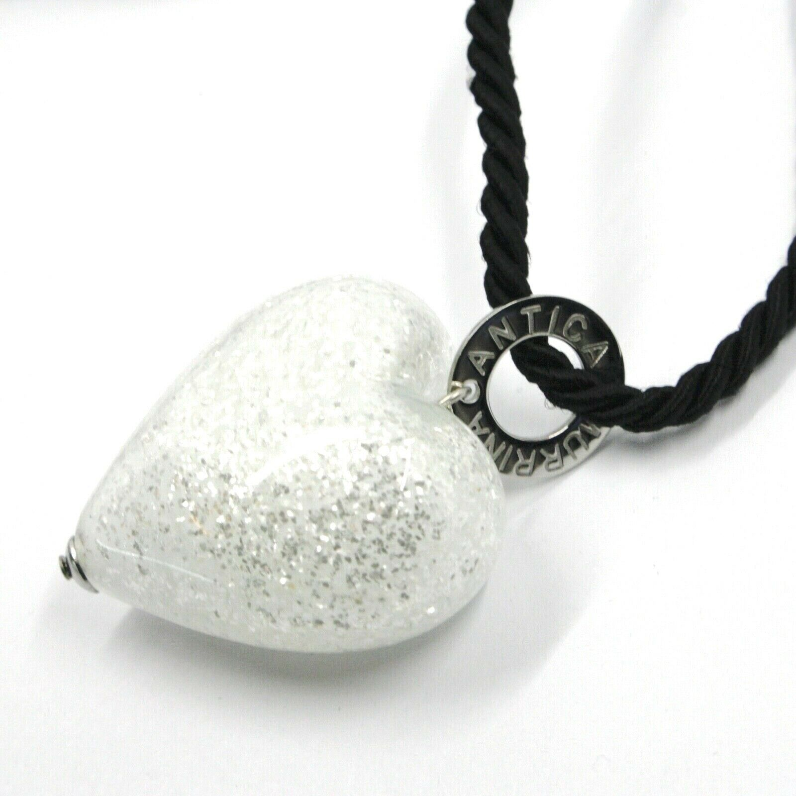 Necklace Antique Murrina C0733A02 with Heart of Murano Glass and Cord from 80 CM