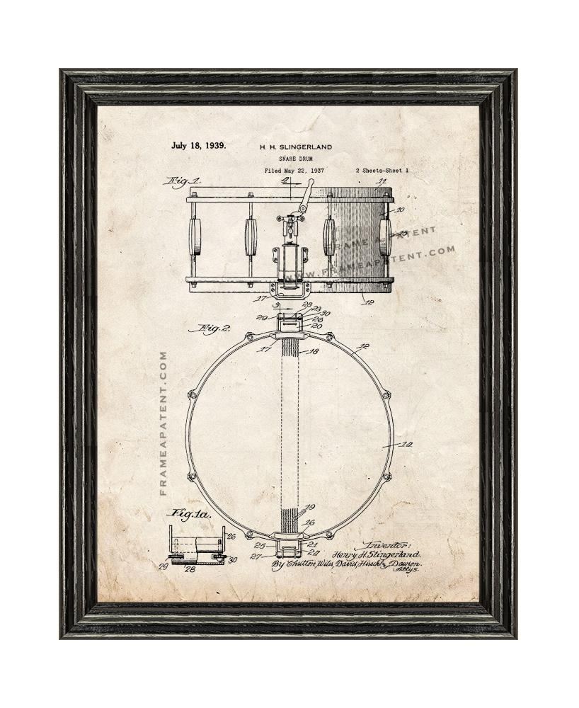 Primary image for Snare Drum Patent Print Old Look with Black Wood Frame