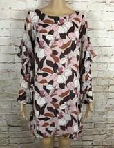 NWT Ann Taylor Factory Shift Dress Pink White Mix Floral Long Flutter Sl... - $29.70