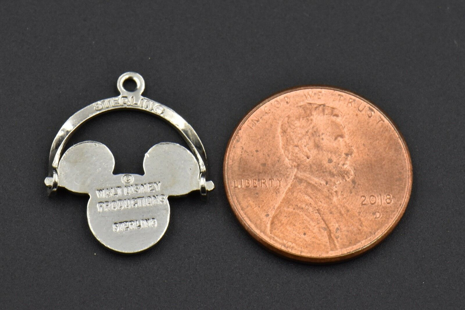 DISNEY Mickey Mouse Spinner Charm Sterling Silver Enamel Epcot Spaceship Earth