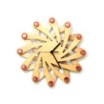 Contemporary natural wooden wall clock made of bent plywood - Galaxy - $89.00