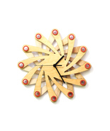 Contemporary natural wooden wall clock made of bent plywood - Galaxy - $89.00