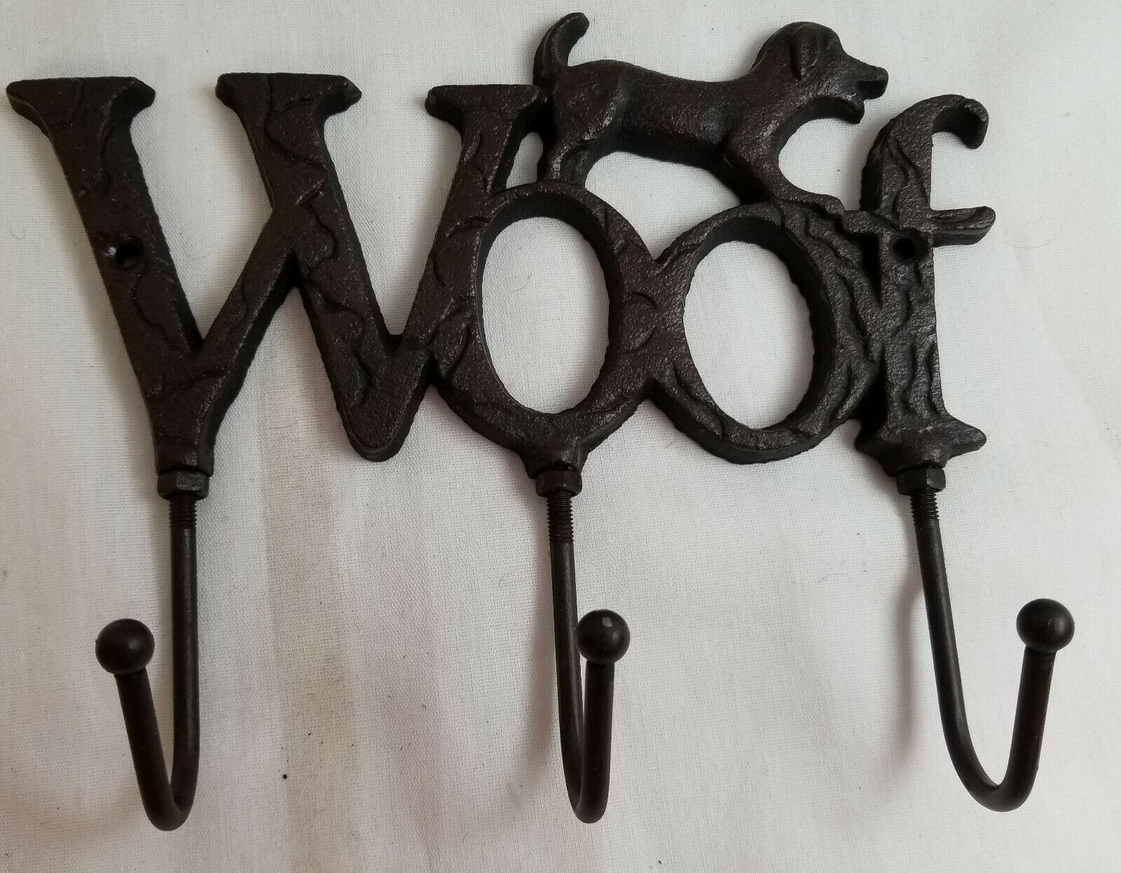 Primary image for WOOF Puppy Dog Cast Iron Wall Hanger Hook Rack Decorative Black 7""