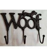 "WOOF Puppy Dog Cast Iron Wall Hanger Hook Rack Decorative Black 7"" - $24.95"