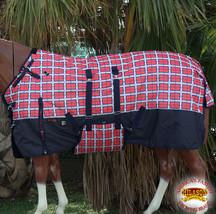 "78"" Hilason 1200D Winter Waterproof Horse Blanket Belly Wrap Red Plaid U-L-78 - $59.49"