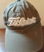 Titleist Footjoy OSFA strapback hat cap army green olive sewn logos - $24.70