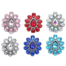 5pcs/lot New Snap Jewelry Vintage Crystal Flower 18mm Metal Snap Buttons DIY Cha - $8.84