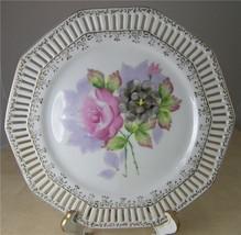 JAPAN 1940s Hand Painted Vintage Floral Plate Decor Pierced Edge Gold Trim - $12.35
