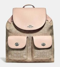 NWT Coach F30275 Billie Backpack In Signature  Jacquard Khaki Pink $375 New - $158.39