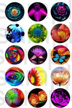 "15 Precut 1"" Neon Flowers Bottlecap Scrapbooking Crafts Images Cake Topper  - $2.99"