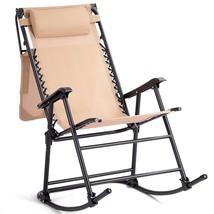 Zero Gravity Folding Rocking Chair Rocker Porch-Beige - $84.49