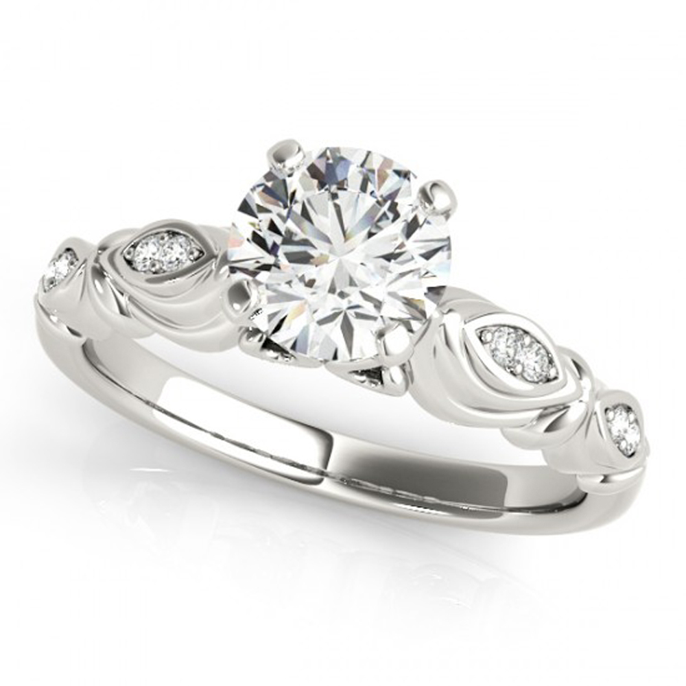 Solitaire With Accents Wedding Ring In White Gold Plated 925 Silver Round Cut CZ