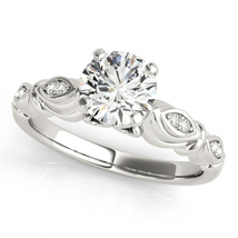 Solitaire With Accents Wedding Ring In White Gold Plated 925 Silver Round Cut CZ - $74.80