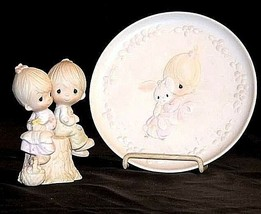 Johnathan and David Figurine and Plate (1982) AB 456R - Pair of 2 Vintage image 1