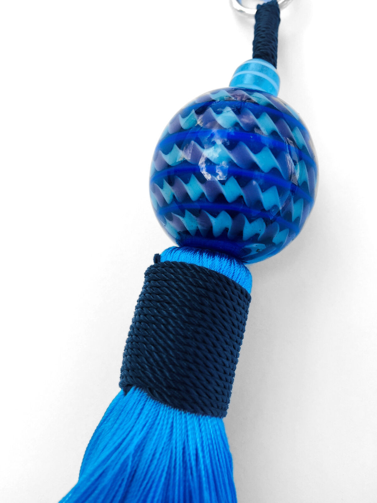 Turquoise Tassle Keychain w/Ball - Handmade in Bali
