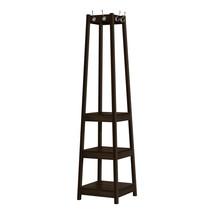 "72"" Espresso Corner Laminated Coat Rack with 3 Shelves - $176.00"