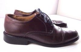 Bass Oxfords Mens Burgundy Brown Leather Cap Toe Shoes Size 10 M - $74.20
