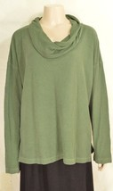 Fresh Produce top XL knit soft green long sleeve cowl neck cotton blend ... - $34.64