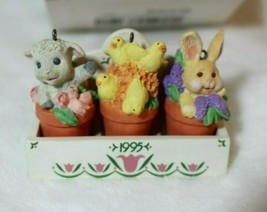 Hallmark Keepsake Easter Ornament Flower Pot Friends Bunny Lamb Chicks 1995 - $29.47