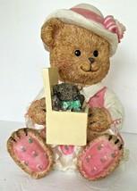 Coin Piggy Bank Little Girl Teddy Bear in Pink Dress & Hat Resin  Baby B... - $14.84