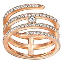 NIB Swarovski Crystal Coiled CREATIVITY Ring Rose Gold Sz 60/9 Signed Au... - $78.41