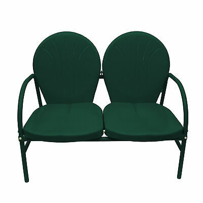 Rich Pacific Hunter Green Retro Metal Tulip 2-Seat Double Chair