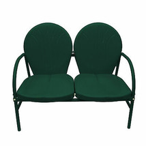 Rich Pacific Hunter Green Retro Metal Tulip 2-Seat Double Chair - $162.10