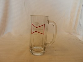 """Vintage Budweiser Clear Glass Beer Mug Red Bowtie with White Logos 6"""" Tall - $37.12"""