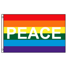 NEW BEAUTIFUL  RAINBOW PEACE FLAG ~ GAY PRIDE ~ LGBT  - $5.99