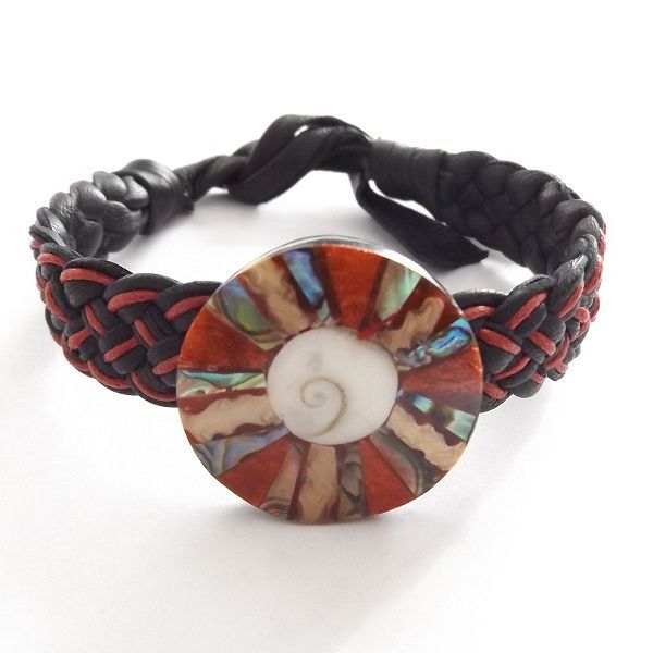 BLACK RED LEATHER WOVEN TIE ON FRIENDSHIP BRACELET WITH ABALONE SHELL CORAL DISC