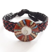 BLACK RED LEATHER WOVEN TIE ON FRIENDSHIP BRACELET WITH ABALONE SHELL CORAL DISC image 1