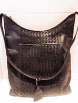Vintage Nina Donna Black Woven Leather Shoulder Bag 1990s - $24.74