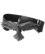 Alchemy Gothic Black Consort Flying Raven Black Leather Bracelet WristSt... - $29.95
